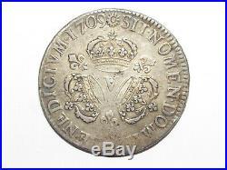05f37 Écu Argent Louis XIV Aux 3 Couronnes 1709 V Troyes 42 MM / 30,42 Grammes