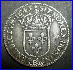 1/12 D'ECU 3° Type Monnaie de Matignon 1743 A (Paris) LOUIS XIII