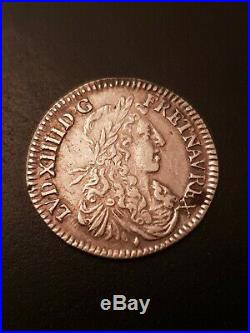 1/12 Ecu Louis XIV Buste Juvenil 1664 & Aix