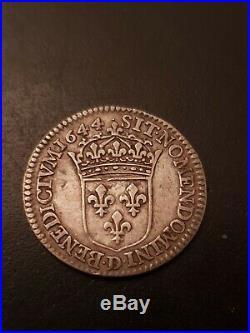 1/12 Ecu Louis XIV Meche Courte 1644 D Lyon