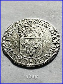 1/12 dEcu Louis XIV 1644 à la Mèche Courte. A. Rose ClippéUnique