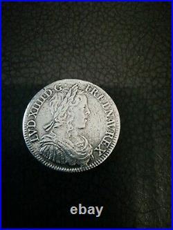 1/2 ECU À LA MECHE LONGUE LOUIS XIV 1651 À (PARIS) Faute RARE