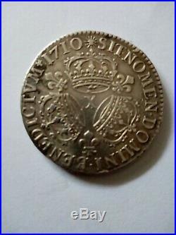 1/2 Ecu De Louis XIV Aux 3 Couronnes De 1710 X