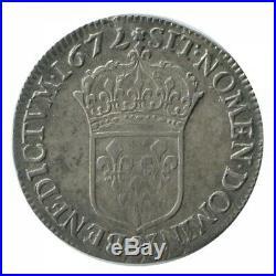 1/2 Ecu au Buste Juvénile Louis XIV 1672