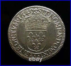1/2 Ecu méche longue Louis XIV 1649 T NANTES Argent SUP collection privée