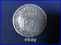 1/2 écu Louis XIV 1648 Y Bourges monnaie royale argent