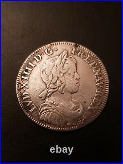 1/4 Ecu Louis XIV Meche Longue 1645 A Paris