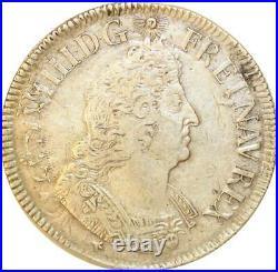 1056648 Rare France Ecu aux palmes Louis XIV 1694 BB Strasbourg Silver Offer