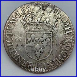 #13520/10 France, Louis XIV, Ecu à la mèche longue, 1651 K, Bordeaux
