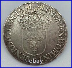 #13520/11 France, Louis XIV, Ecu à la mèche longue, 1651 S, Troyes