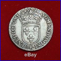 #1902 Louis XIV 1/12 écu à la mèche courte 1649 K Bordeaux TTB+ R3 FACTURE