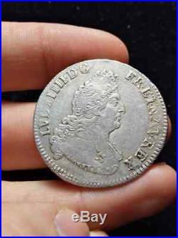 2361 Louis XIV, 1/2 écu aux 8L 2e type, 1704 A Paris, TTB+, portrait