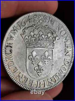 2886 Louis XIV, écu à la mèche longue 1648 B Rouen. Qualité TTB+. Gad. 202