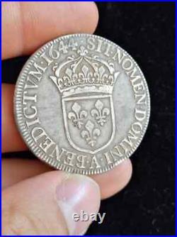 2890 Louis XIV, écu à la mèche courte, 1644 A. Point et étoile après REX