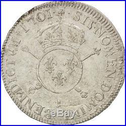 #28932 Monnaie, France, Louis XIV, 1/2 Ecu, 1701, Limoges, GENI, AU58, Argent