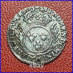 #3369 RARE Louis XIV 1/12 écu aux palmes 1695 M Toulouse TTB Belle qualité