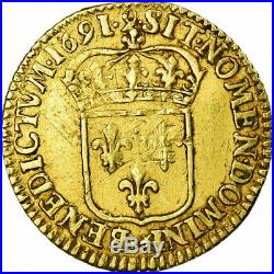 #474637 Monnaie, France, Louis XIV, 1/2 Louis d'or à l'écu, 1691 Rennes