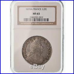 #489250 Monnaie, France, Louis XIV, 1/2 Écu aux palmes, 1693, Paris, NGC