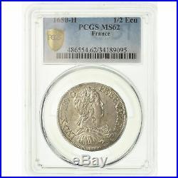 #489400 Monnaie, France, Louis XIV, 1/2 Écu à la mèche longue, 1650, La