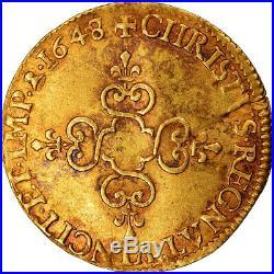 #489774 Monnaie, France, Louis XIV, Écu d'or, Ecu d'or, 1648, Amiens, TTB, Or
