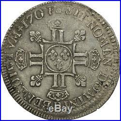 #506501 France, Louis XIV, 1/2 Écu aux 8L 2e type, 1704, Rouen, TTB, Argent