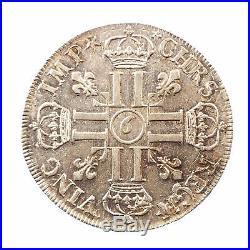 98 Louis XIV, Écu aux 8L, 1690 Rennes, TTB+, Gadoury 216, rf 9 inversé