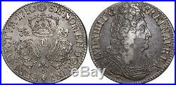 A4009 RARE R2 Ecu Louis XIV 3 couronnes 1710 CC Besançon Silver Argent FO