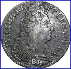 A4010 RARE R2 Ecu Louis XIV 3 couronnes 1709 CC Besançon Silver Argent FO