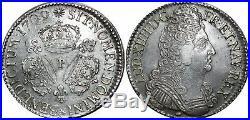A4013 RARE Ecu Louis XIV 3 couronnes 1709 P Dijon Silver Argent SUPERBE-F Offre