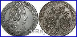 A4019 RARE R2 Ecu Louis XIV 3 couronnes 1710 K Bordeaux Silver Argent SUPERBE