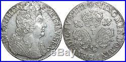 A4021 RARE R2 Ecu Louis XIV 3 couronnes 1711 T Nantes Silver Argent F Offre