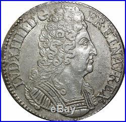 A4022 RARE R2 Ecu Louis XIV 3 couronnes 1711 C Caen Silver Argent F Offre