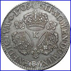 A4026 RARE R2 Ecu Louis XIV 3 couronnes 1709 K Bordeaux Silver Argent F Offre