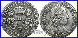 A4043 RARE 1/10 Ecu Louis XIV 3 couronnes 1711 H La Rochelle Silver Argent FO