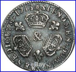 A4054 RARE 1/10 Ecu Louis XIV 3 couronnes 1713 W Lille Silver Argent SUPERBE