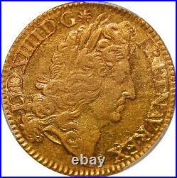 AA581 Finest France Double Louis d'or à l'écu Louis XIV 1690 A Gold PCGS AU58