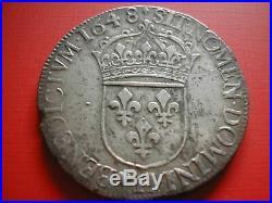 Amn. Louis XIV Ecu Argent Meche Longue 1648 H La Rochelle