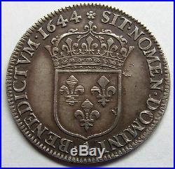 Belle monnaie Louis XIV 1/4 Ecu à la mèche courte 1644 A