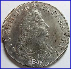 Belle monnaie Louis XIV Ecu aux Palmes 1694 D Lyon