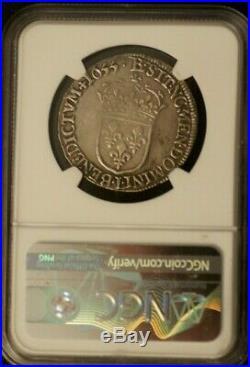 Demi Ecu Louis XIV argent 1655 L (Bayonne) NGC XF45