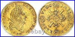 Demi-écu or aux 4 L Louis XIV 1696 TTB++ PCGS AU-53 réformation + bel ex. Connu