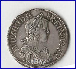 ECU A LA MECHE LONGUE DE 1647 G (POITIERS) LOUIS XIV POIDS 27.21 g ARGENT