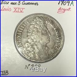 ECU aux 3 Couronnes (LOUIS XIV) 1709 A Monnaie en Argent // TTB