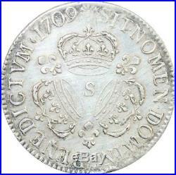 EE0002 Rare Ecu 3 Couronnes Louis XIV 1709 S Reims Argent F offre
