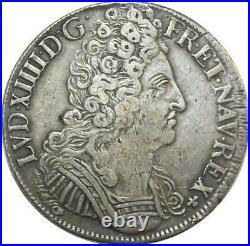 EE0004 Rare R3 Ecu 3 Couronnes Louis XIV 1710 E Tours Argent F offre