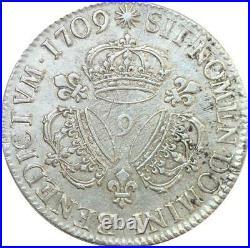EE0006 Rare Ecu 3 Couronnes Louis XIV 1709 9 Rennes Argent F offre