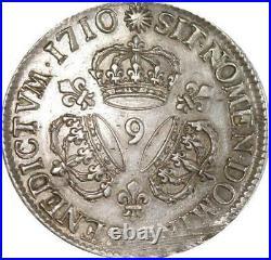 EE0008 Rare Ecu 3 Couronnes Louis XIV 1710 9 Rennes Argent F offre