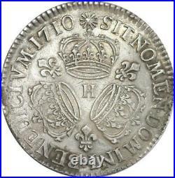 EE0009 Rare Ecu 3 Couronnes Louis XIV 1710 H La Rochelle Argent F offre