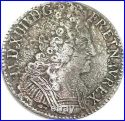 EE0010 Rare Ecu 3 Couronnes Louis XIV 1710 CC Besançon Argent F offre