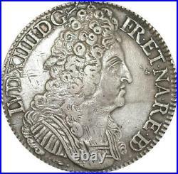 EE0013 Rare Ecu 3 Couronnes Louis XIV 1710 Vachette Pau Argent F offre